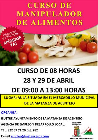 Curso de manipulador de alimentos 2016 en La Matanza de Acentejo
